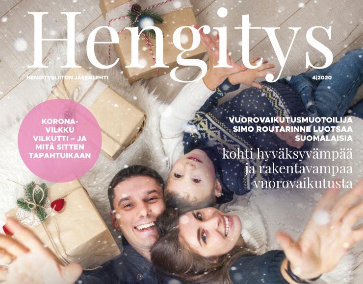 Hengitys-lehden kansi iloinen perhe joulu