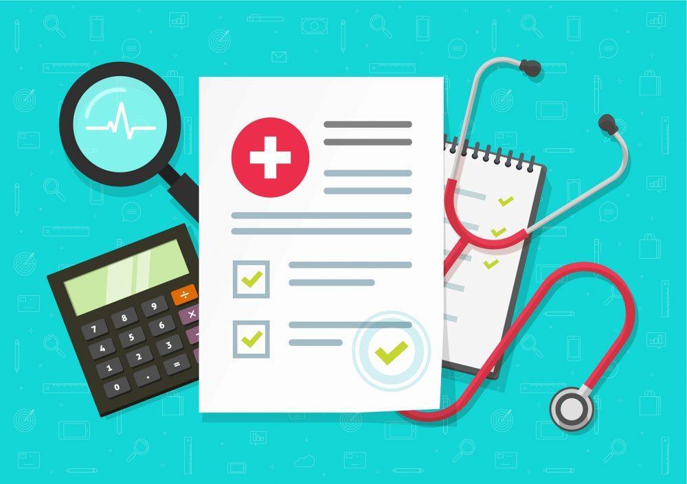 Piirroskuva lääkärin tarvikkeista. Kuvassa on täytettävä lomake, stetoskooppi, laskin ja suurennuslasi.