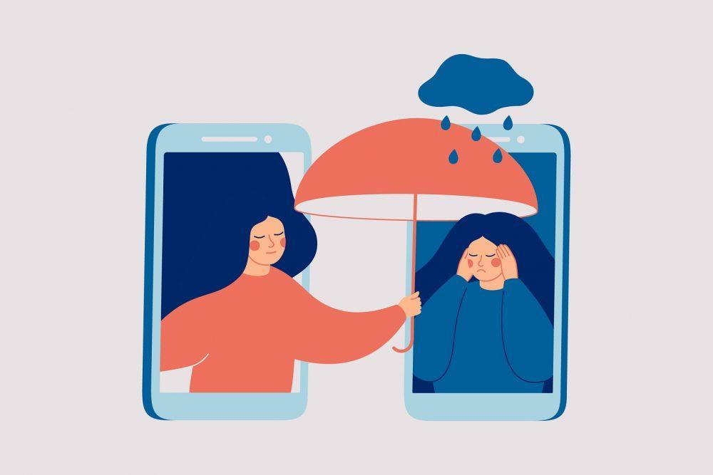 Piirroskuva kahdesta älypuhelimesta rinnakkain. Molempien älypuhelinten näytöillä näkyy piirroshahmo. Oikean älypuhelimen näytöllä oleva hahmo näyttää olevan huonolla päällä ja toinen hahmo auttaa ja antaa tukea.