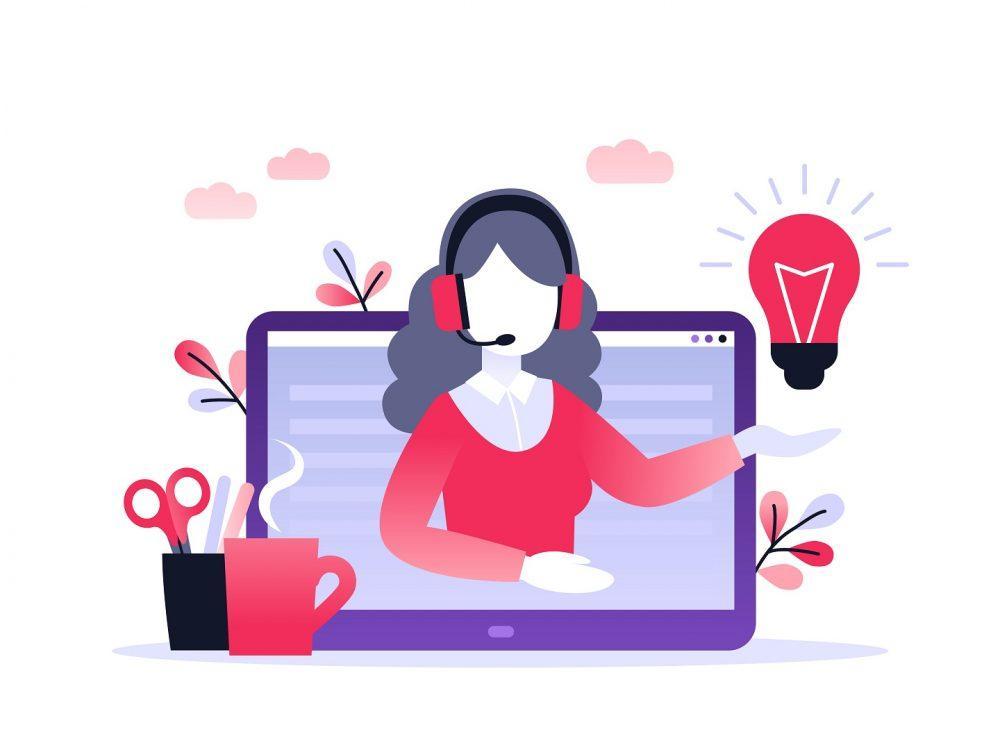 Piirroskuva kannettavasta tietokoneesta, jonka näytöllä näkyy henkilö kuulokemikrofoni päällään. Näytöllä oleva henkilö näyttää pitävän jonkinlaista etäluentoa.